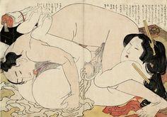 HOKUSAI Katsushika - A woman and her lover enjoy an encounter, from the album Fukujuso [The Adonis Plant] Japan Kultur, Art Asiatique, Katsushika Hokusai, Art Japonais, Reproduction, Japanese Prints, Japan Art, Gravure, Woodblock Print