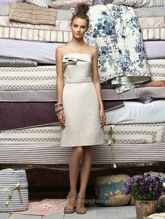 Sheath/Column Strapless Satin Knee-length Draped Bridesmaid Dresses