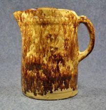 antique yelloware Rockingham Bennington pitcher peacock large spatter early