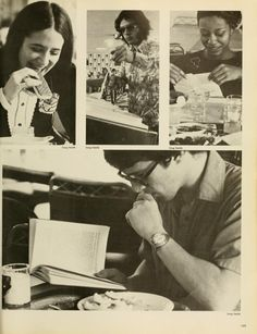 Spectrum Green Yearbook, 1976. Students eating in the cafeteria. :: Ohio University Archives