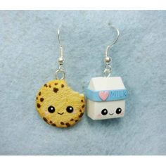 Cookie + Milk,fimo, handmade,hecho a mano,polymer clay,earrings,pendientes,galleta,leche,kawaii,