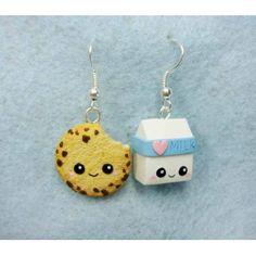 Cookie et brique de lait kawaii en boucles d'oreilles