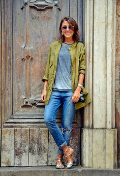 Gorgeous grey blouse with denim stylish ladies jeans and hunter green stylish jacket and silver ladies cute sandals the best street style & ...