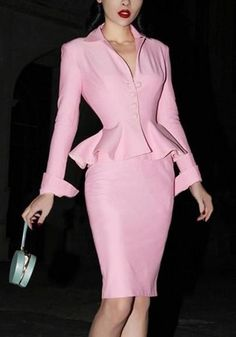 ByChicStyle Pink Buttons Slit Peplum Formal V-neck Two Piece Bodycon Sweet Midi Dress