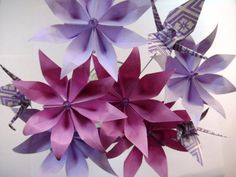 Whimsical Purple Origami Paper Flowers Bouquet by DearBetsy