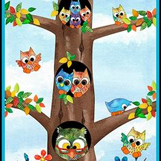 Owl panel by Quilting Treasures for $10.
