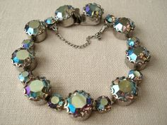 Vintage Blue Green 50's Aurora Borealis Crystal Costume Bracelet.