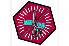 Color vintage sewing emblem. $5.00