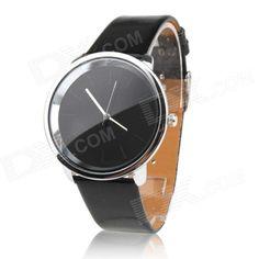 Women's Fashionable Simple Dial PU Band Quartz Analog Wrist Watch - Black