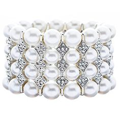 Bridal Wedding Jewelry Stunning 4 Rows Pearl Crystal Stretch Bracelet Silver buy at mariescrystals.com