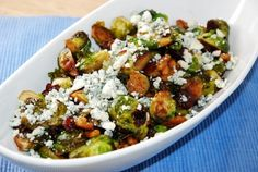 Pan-Fried Brussel Sprouts with Cranberries, Walnuts and Blue Cheese – 4 Points + - LaaLoosh