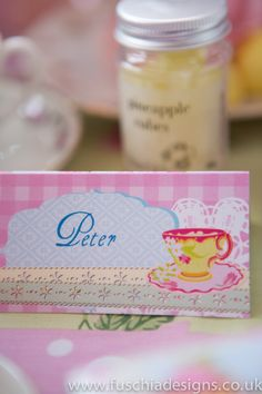 Vintage time for tea printed and personalised wedding and celebration stationery. www.fuschiadesigns.co.uk