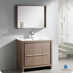 Energia White Modern Bathroom Vanity white modern bathroom vanity w/ three panel folding mirror https