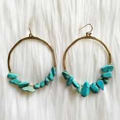 """Turquoise stone hoop earrings •No trades•  If you would like to make an offer click on the OFFER link below and I may consider.           Please don't ask , """"what's your lowest?"""", that's what the price is for on each listing.                                                              Thank you Jewelry Earrings"""