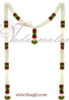Half white colour long Toran Garland. Jasmine design  http://www.thugil.com/door-jasmine-garland-688.html