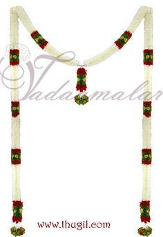 Half white colour long Toran Garland. Jasmine design  http://www.thugil.com/door-jasmine-garland-688.html
