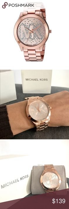 New Authentic Michael Kors rose gold watch MICHAEL Michael Kors stainless steel bracelet watch. 42mm round, rose golden ion-plated case and hardware. Three-link bracelet strap with deployant closure. Rose golden dial with crystal MK logo and script. Three-hand quartz movement. Antireflective mineral crystal. Water resistant to 5 ATM. MK3591 brand new in box with liners, tags and hasn't been resized. Michael Kors Accessories Watches