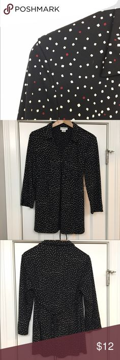Motherhood Maternity Top L Stretch knot fabric for drape and comfort. Black with white and red print accent.  Faux wrap, with collar neckline. Knit has detail at wrist. Ties at back. Excellent used condition:  no holes, rips, stains or marks. Size Large Motherhood Maternity Tops Blouses