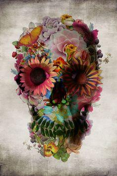 """Floral Skull"" - A Giclée Print by Ali Gulec @Megan Hinterberger"