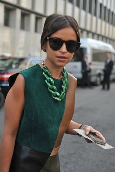 Miroslava Duma in emerald at Milan Fashion Week, 2012 #coloroftheyear