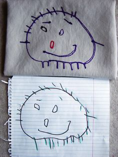 Hand Embroidered-such an awesome way to keep kids' artwork