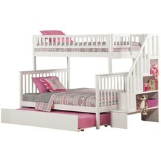 Twin over Full Bunk Bed w/ a Trundle B underneath.Side Stairs to Twin has Shelves for storage.