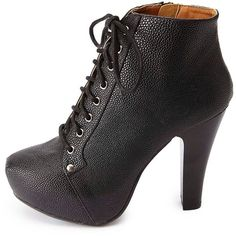 Charlotte Russe Platform High Heel Lace-Up Booties (32 CAD) ❤ liked on Polyvore featuring shoes, boots, ankle booties, black, lace up ankle boots, black booties, black platform booties, thick heel booties and lace up chunky heel booties