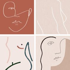 trending one liner of faces and abstract illustrations. Floral Illustration, Face Illustration, Web Design, Design Art, Logo Design, Abstract Faces, Grafik Design, Illustrations And Posters, Minimalist Art