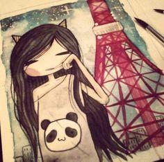 Panda girl in Paris