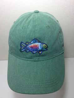 1d208afc881 Trout Baseball Cap in Green Hand Painted