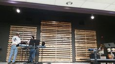 Custom pallet wall that we did for our church - love how it turned out !