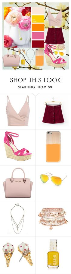 """Picture Color Palette Outfit #17"" by annie-nisnevich on Polyvore featuring Chicsense, BCBGeneration, Casetify, Michael Kors, AQS by Aquaswiss, LULUS, Accessorize and Kate Spade"