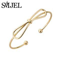 2017 Gold plated Bangle Adjustable Simple Handmade Bow Knot Bracelets & Bangles for Women G008