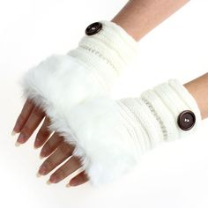 Women Warm Winter Faux Rabbit Fur Wrist Fingerless Gloves Mittens Women Fur Gloves With lot of colors suti shipping party Gloves Fashion, Fingerless Gloves Knitted, Wrist Warmers, Rabbit Fur, Visual Kei, Adulting, Faux Fur, Harajuku, Winter Gloves