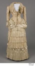 Wedding dress, womens, silk brocade / lace, worn by Elizabeth Jane Howard (nee Smith), Orange, New South Wales, Australia, 1883 - Powerhouse Museum Collection