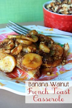 Banana Walnut French Toast Casserole - Caramelized bananas and walnuts smothered on top of thick french bread and layers of cinnamon sugar!