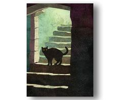 BLACK CAT  Scary Halloween Card  Haunted Halloween от tornpaperco