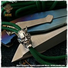 Boka Hannya Japanese Demon Skull Mask Lanyard Paracord Bead Sterling Silver 925 Tactical Knife Zipper Pulls Flashlight Pace Ranger Pendant Necklace Bracelet