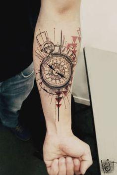 Koit Tattoo Berlin Compass tattoo | Arm / Forearm | black and red ink | graphic style tats | ideas and inspiration | Germany tattoo artist | Geometric tattoo design | tattoo artists | Triangles | tattoo for guys | Tatouage | Tätowierung | Tatuaggio | Tatuaż | Tatuaje