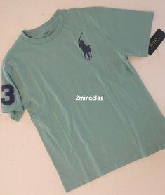 ff44ad76 NWT Ralph Lauren Polo LARGE PONY Shirt Crew T-Shirt Green Blue Boys 10/12  Spring #PoloRalphLauren #DressyEverydayHoliday