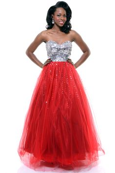 Red Strapless Snow Queen Sequin Gown - Unique Vintage - Cocktail, Pinup, Holiday & Prom Dresses. $210