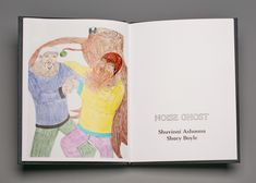 Interior spread of Noise Ghost and Other Stories (2016), a catalogue documenting three exhibits at the Justina M. Barnicke Gallery, Hart House (now the Art Museum at the University of Toronto), including Noise Ghost: Shuvinai Ashoona and Shary Boyle, 2009, photograph by Sean Weaver. #ArtCanInstitute #CanadianArt Hart House, University Of Toronto, Canadian Art, Detailed Drawings, Art World, Art Museum, Book Art, Photograph, Gallery