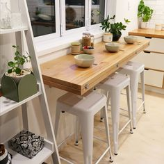 Kitchen Cabinets Decor, Condo Kitchen, Kitchen Interior, Kitchen Remodel, Wall Table Folding, Folding Walls, Wall Mounted Table, Tiny House Living, Home And Living