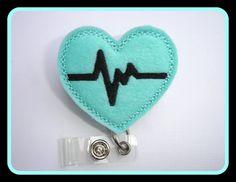 Retractable badge holder - nurse badge holder - Heartbeat EKG light aqua felt - Nurses RN doctor medical staff on Etsy, $6.50