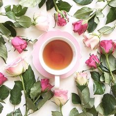 Pink roses and tea