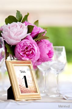 "5x7"" table numbers in rose gold glitter and black calligraphy text"