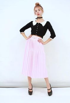 Vtg RETRO FEMININE Lolly Pink Permanent PLEATED Belted Midi Skirt AUS 14 16 L XL