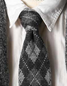 Engineered Garments  FW12 Knit Tie Grey Argyle