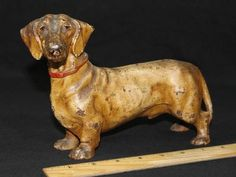 Rare Antique Hubley Cast Iron Dachshund Weiner Dog Doorstop, Orig Paint *NR*