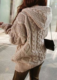 One Size Cable-Knit Hooded Cardigan - Fairyseason
